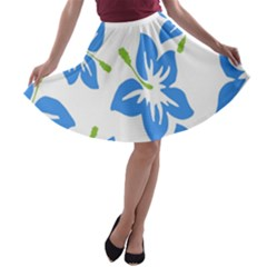 Hibiscus Wallpaper Flowers Floral A Line Skater Skirt