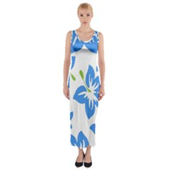 Hibiscus Wallpaper Flowers Floral Fitted Maxi Dress