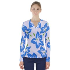 Hibiscus Wallpaper Flowers Floral V Neck Long Sleeve Top
