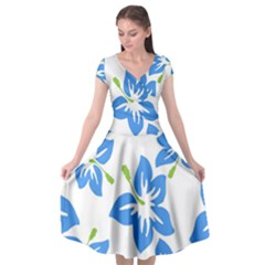 Hibiscus Wallpaper Flowers Floral Cap Sleeve Wrap Front Dress
