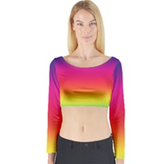 Spectrum Background Rainbow Color Long Sleeve Crop Top