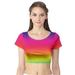 Spectrum Background Rainbow Color Short Sleeve Crop Top