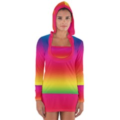 Spectrum Background Rainbow Color Long Sleeve Hooded T Shirt
