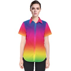 Spectrum Background Rainbow Color Women s Short Sleeve Shirt