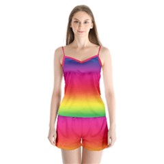 Spectrum Background Rainbow Color Satin Pajamas Set