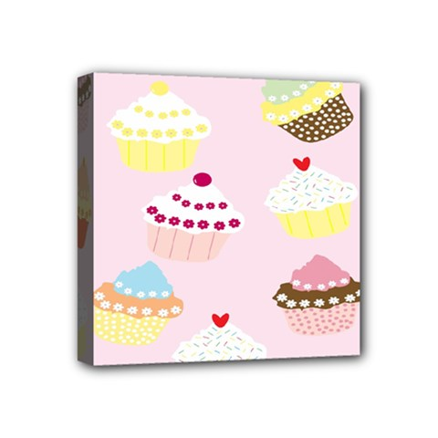 Cupcakes Wallpaper Paper Background Mini Canvas 4  X 4