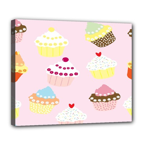 Cupcakes Wallpaper Paper Background Deluxe Canvas 24  X 20