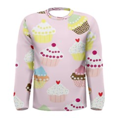 Cupcakes Wallpaper Paper Background Men s Long Sleeve Tee