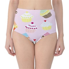 Cupcakes Wallpaper Paper Background High Waist Bikini Bottoms