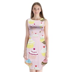Cupcakes Wallpaper Paper Background Sleeveless Chiffon Dress