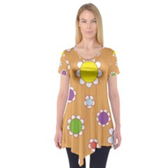 Floral Flowers Retro 1960s 60s Short Sleeve Tunic