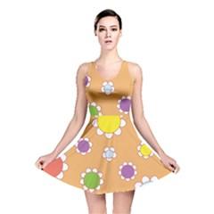 Floral Flowers Retro 1960s 60s Reversible Skater Dress