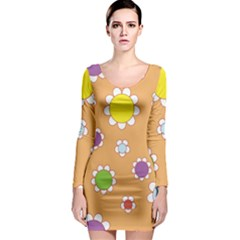 Floral Flowers Retro 1960s 60s Long Sleeve Bodycon Dress