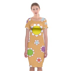 Floral Flowers Retro 1960s 60s Classic Short Sleeve Midi Dress