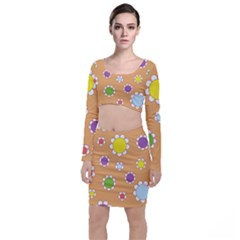 Floral Flowers Retro 1960s 60s Long Sleeve Crop Top & Bodycon Skirt Set