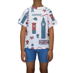 London Icons Symbols Landmark Kids  Short Sleeve Swimwear