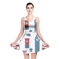 London Icons Symbols Landmark Reversible Skater Dress