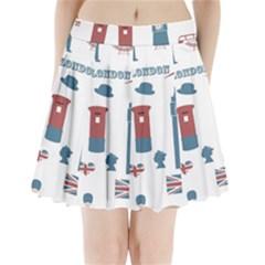 London Icons Symbols Landmark Pleated Mini Skirt