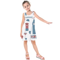 London Icons Symbols Landmark Kids  Sleeveless Dress