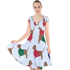 Dachshund Dog Cartoon Art Cap Sleeve Front Wrap Midi Dress