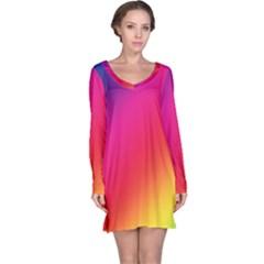 Spectrum Background Rainbow Color Long Sleeve Nightdress