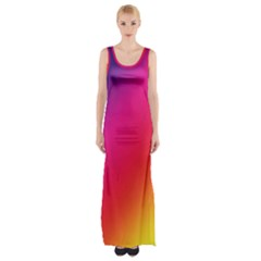 Spectrum Background Rainbow Color Maxi Thigh Split Dress