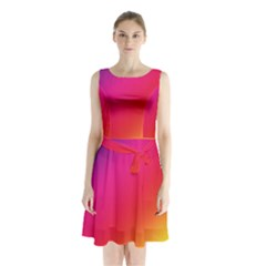Spectrum Background Rainbow Color Sleeveless Waist Tie Chiffon Dress