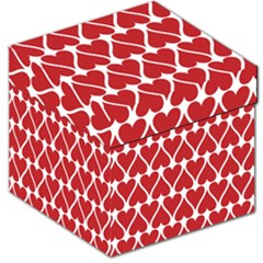 Hearts Pattern Seamless Red Love Storage Stool 12