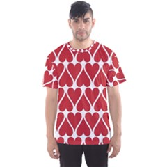 Hearts Pattern Seamless Red Love Men s Sports Mesh Tee