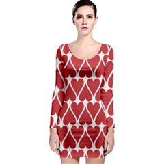 Hearts Pattern Seamless Red Love Long Sleeve Bodycon Dress
