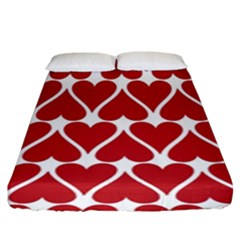 Hearts Pattern Seamless Red Love Fitted Sheet (king Size)