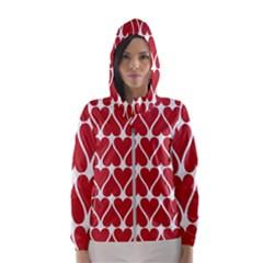 Hearts Pattern Seamless Red Love Hooded Wind Breaker (women)