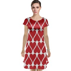 Hearts Pattern Seamless Red Love Cap Sleeve Nightdress