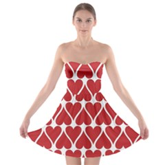 Hearts Pattern Seamless Red Love Strapless Bra Top Dress