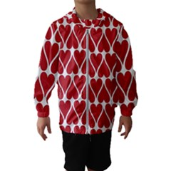 Hearts Pattern Seamless Red Love Hooded Wind Breaker (kids)