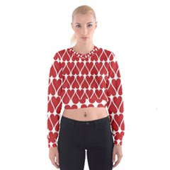 Hearts Pattern Seamless Red Love Cropped Sweatshirt