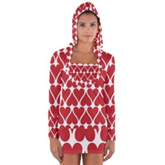 Hearts Pattern Seamless Red Love Long Sleeve Hooded T Shirt