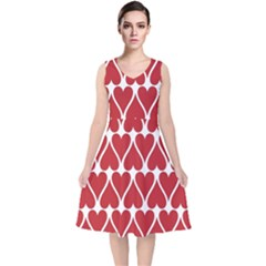 Hearts Pattern Seamless Red Love V Neck Midi Sleeveless Dress