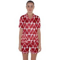 Hearts Pattern Seamless Red Love Satin Short Sleeve Pyjamas Set