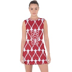 Hearts Pattern Seamless Red Love Lace Up Front Bodycon Dress