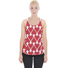 Hearts Pattern Seamless Red Love Piece Up Tank Top