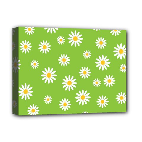 Daisy Flowers Floral Wallpaper Deluxe Canvas 16  X 12