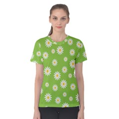 Daisy Flowers Floral Wallpaper Women s Cotton Tee