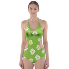 Daisy Flowers Floral Wallpaper Cut Out One Piece Swimsuit