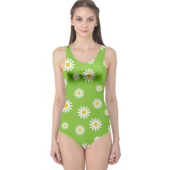 Daisy Flowers Floral Wallpaper One Piece Swimsuit