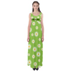 Daisy Flowers Floral Wallpaper Empire Waist Maxi Dress
