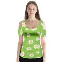 Daisy Flowers Floral Wallpaper Butterfly Sleeve Cutout Tee
