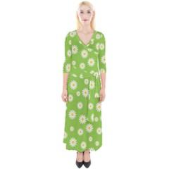 Daisy Flowers Floral Wallpaper Quarter Sleeve Wrap Maxi Dress
