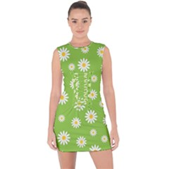 Daisy Flowers Floral Wallpaper Lace Up Front Bodycon Dress