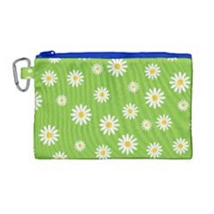 Daisy Flowers Floral Wallpaper Canvas Cosmetic Bag (large)